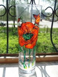 Витражная роспись вазы